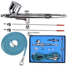 G233 PRO Dual-Action Gravity Feed Airbrush Kit Set w/ 3 TIPS Fine Nail Art New