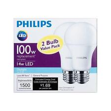 2x 14w Philips LED 100W Equivalent Daylight 5000K A19 Bulb E26 Base 1500 Lumens