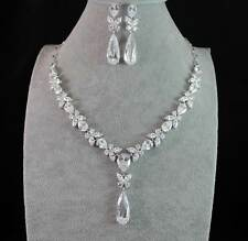 BRIDAL CZ CUBIC ZIRCONIA CRYSTAL NECKLACE EARRINGS SET WEDDING RHODIUM PL CZ1837