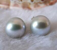 Genuine 10mm Gray Akoya shell Pearl Silver hook Earrings AAA