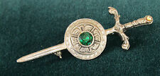 "VINTAGE ART DECO SWORD BROOCH EMERALD GLASS CHATON 3"" L Rhodium Plated"