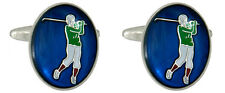 Rhodium Plated Golfer with Blue Background Oval Novelty Cufflinks *902310