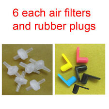 6 each air filter, rubber plugs for ink cartridge CISS HP Lexmark Canon Brother