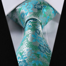 Mens Wedding Tie SALE Teal Turquoise Blue Green Floral Paisley Silk + FREE HANKY