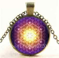 Vintage Metatron's Cube ,Flower of Life Cabochon Glass Bronze Chain Necklace