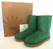 WOMENS UGG CLASSIC SHORT SUEDE BOOTS PINE GREEN SIZE 7 NEW W/ BOX