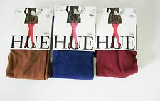 3 HUE Womens Opaque Tights U4689 Sienna Ink Blue Sangria Sz 3 - New