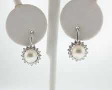 Fine Estate Cultured Pearls Diamonds Solid 14k White Gold Dangle Halo Earrings