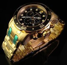 INVICTA MENS NEW  MASTER OF OCEANS 18K GOLD PLATED SWISS  CHRONO W BLACK DIAL