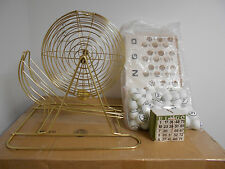 LARGE PARTY BRASS BINGO CAGE WITH ACCESSORIES-2000 CARDS-COMMERCIAL GRADE-5WH