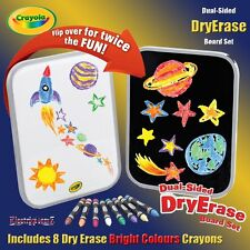Crayola Washable Dry Erase Wipe Clean Dual Sided Board inc 8 Bright Crayons
