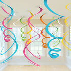 12 x multi colour Hanging Swirls Party decoration pink Hanging danglers FREE P&P