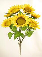 De 46 cm artificiales, flores de seda 7 jefes Amarillo Girasol Bush Con Hojas Verde