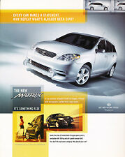 2002 Toyota Matrix Original Advertisement Car Print Ad J348