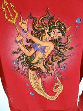 ED HARDY by CHRISTIAN AUDIGIER Hoodie SMALL Jeweled Devil Mermaid Jacket Top