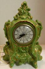 Vintage Green w/ Gold Trim Porcelain Electric Clock Lanshire Movement Excellent