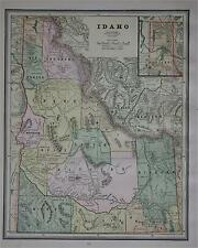 1887 Idaho Antique Color Atlas Map* .with area & Pop. . 128 years-old!