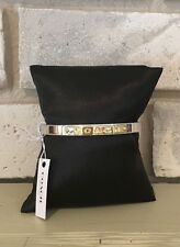 """COACH Bracelet Silver Hinged Bangle Gold """"COACH"""" Stamped (F54565)"""