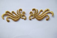 "#3736BC Lot 2Pcs 2"" Gold Trim Fringe Flower Embroidery Iron On Applique Patch"