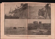 WWI Germany torpedo submarine UC 33 off Tunisia Boat England 1917 ILLUSTRATION