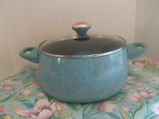 "PAULA DEEN PAN~6 QUART COVERED STOCK POT ~ ""AQUA- BLUE""  SPECKLE~NEW"