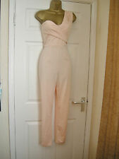 6 ASOS NUDE ONE SHOULDER JUMPSUIT RUCHED SLIM LEG CATSUIT WEDDING PARTY SUMMER
