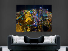 LAS VEGAS STRIP AT NIGHT AERIAL VIEW  ART LARGE  GIANT POSTER PRINT