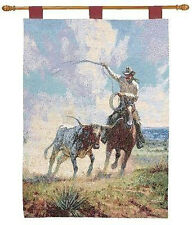 Ropin' A Wild One ~ Western Cowboy & Steer Tapestry Wall Hanging