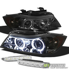For 06-08 Bmw E90 3-Series 4Dr Amber Halo Projector Headlights+ Smd Bumper Light