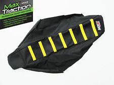 SUZUKI RMZ250 2010 2011 2012 RIBBED SEAT COVER BLACK WITH YELLOW STRIPES RIBS