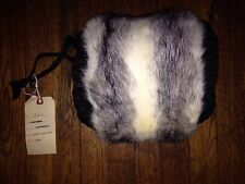 New  Gray Silver Mink Fur Vintage Muff Hand Warmer  Pocket Purse BAG   Deadstock