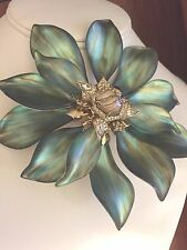 Alexis Bittar  Lucite Emerald Crystal Encrusted Articulating Flower Pin  Green