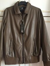 Men Designer Brown Leather Jacket Size Medium AC Made in Italy