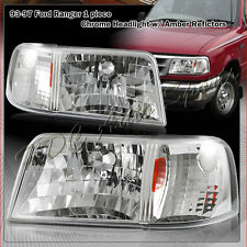 For 1993-1997 Ford Ranger Chrome Housing 2-in-1 Head Lights+Amber Reflector