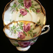 Royal Albert Rose Gold Flared Grand Acon Treasure Chest Tea Cup And Saucer MINT