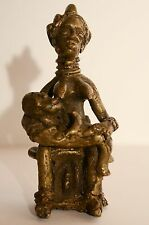 Primitive Hand Tooled Bronze African Statue Mother Nursing Aftrican Statuary
