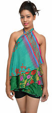 Pack of 5 Womens Wrap Around Sari Magic Art Silk Skirts