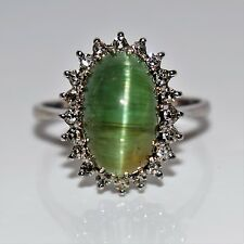 Large 18ct White Gold Green Cat's Eye Chrysoberyl 0.40CT Diamond Ring ~ P ~7 3/4