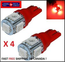 4X T10 RED 194 168 2825 5050 5SMD LED Bright Car Lights Lamp Bulb Peanut Cluster