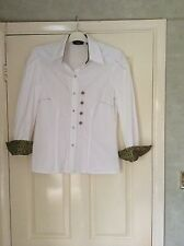 Vintage 1990s Verse white cotton blouse padded shoulders + lovely detail size 40