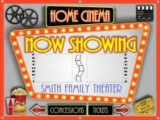 """NOW SHOWING"" PERSONALIZED HOME THEATER MOVIE CINEMA BANNER SIGN ART 48"" X 36"""
