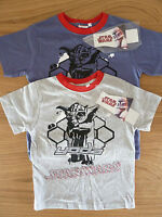 OFFICIAL BOYS STAR WARS T-SHIRTS TOPS 8-10 YEARS IN BLUE OR GREY BNWT
