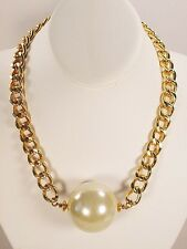 Mega Huge Large Faux Pearl Bridal Chunky Gold Tone Necklace Set
