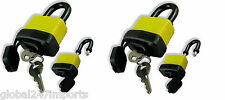 4x  WATERPROOF PADLOCK 40MM STAINLESS STEEL COATED SHACKLE HEAVY DUTY 2 KEYS