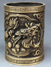 China Bronze FengShui Fly Dragon Brush Pot Barrel Pen container Pencil Vase