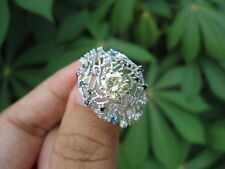 1.90 Ct Fancy Yellow MOISSANITE Sub to Diamond 925 Silver Engagement RING CHUNKY