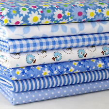 """Handcraft Blue 7 Assorted Pre Cut 10"""" Squares Quilting Cotton Fabric"""