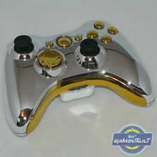 Xbox 360 Wireless Controller Official Custom Chrome Silver & Gold Fast Dispatch