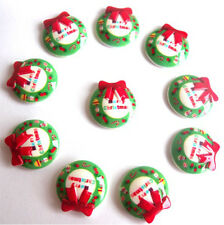 10 MERRY CHRISTMAS FLATBACK KITCH CABOCHONS RESIN DECODEN - FAST SHIPPING