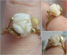 Fine VINTAGE Antique Carved Angel Skin CORAL Rose & Foliage 800 SILVER Gilt Ring
